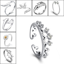 Wholesale Wholesale Crown Gifts - 925 Silver Rings Crown Dolphins Dragonfly Horse Wing Fox Heart Forever Love Adjustable Finger Ring Nail Rings Women Wedding Jewelry 080158