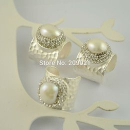 Wholesale Silver Plating Jewelry Ring Findings - beautiful ~ 5pcs Silver Plated Rhinestone Crystal Rings , Pearl Charms Ring Jewelry Finding