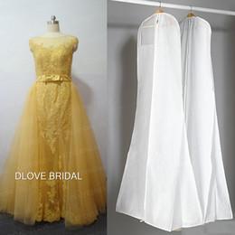 Wholesale Storage Coats - Hot Sale Big Bridal Dresses Storage Bag No Signage White 180cm Long Wedding Evening Dress Dust Coat Covers Travel Garment Cover with Pocket