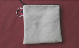 Wholesale Small Fabric Coin Purse - 100pcs lot Cream-coloured cotton canvas small Square coin purse DIY unisex blank plain cotton small bags red zipper casual wallets key cases