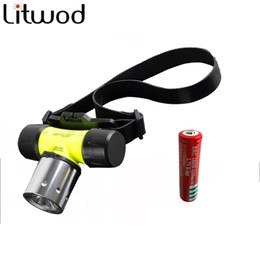 Wholesale Head Flashlight Dive - frontale Flashlight LED Diving Headlight Waterpoof Head XML-T6 LED 2800 Lumen Headlamp Underwater Lamp Swimming 50m ningt