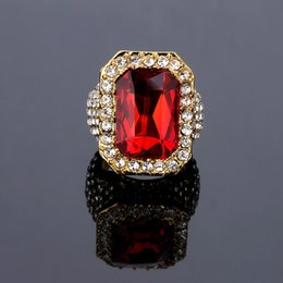 Wholesale Hip Jewellery - Band Designer 18K Gold Plated Ruby Ring For Men Hiphop Cubic Zirconia Jewelry Full cz Big Rings Mens Fashion Hip Hop Jewellery