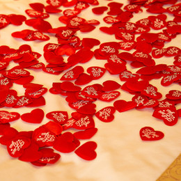 "Wholesale Love Hearts Bedding - (200 piecesk lot)""I Love You"" Heart Wedding Petals Confetti Flower Table Bed Fabric Heart Petals Wedding Valentine Decoration"