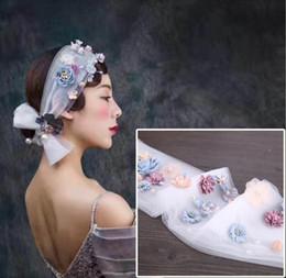 Wholesale Chiffon Headband Flower Crystal - l 1 Piece Pearl Crystals Rhinestones Flower Chiffon Ribbon Headband Head Hair Wedding Dress Jewelry Headpiece Bride Princess Ornaments