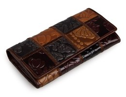Wholesale Thread Embroidery Dresses - Hot Brand Genuine Leather Wallet Women Clutch Wallets Long Wallet Women Purses for Card Holder Fashion Embroidery Clutch Wallet Bags Purse