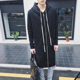 Wholesale Mens Zip Up Hoodie Black - Wholesale- Men Black Long Hoodies Streetwear New 2017 Mens Hooded Zip Up Cardigans Japanese Style Male Long Style Hoody Free Shipping