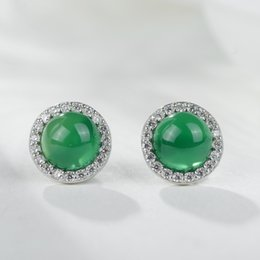 Wholesale Gold Earring Studs - Lady 925 Brass Plated Real Gold Jade chalcedony Zircon Stud Earring