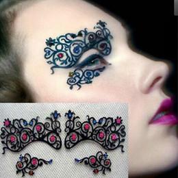 Wholesale black ballroom - Fashion Colorful Rhinestone Black Hollow Lace Brow Lace Eyes Mask Eyelashes Stickers For Ballroom Theme Party Free Shipping