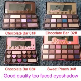 Wholesale Wholesale Quality Chocolate - Good quality Too Faced Makeup Chocolate Bar(3 style)Eyeshadow palette sweet peach 16 Color Eye Shadow palette DHL free