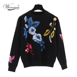 Wholesale Knitting Sweater Design Patterns - Wholesale-2016 Autumn Winter Hot Top Casual Oversized Sweater New Design Floral Colorful Pattern Knitted Roud Neck Hedging Sweaters WS-134