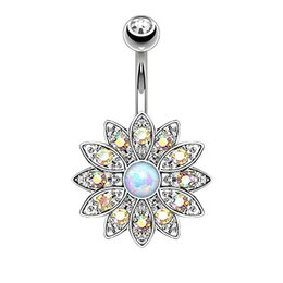 Wholesale Belly Button Ring 14g Surgical - Blooming Daisy White Opal Belly Button Rings Gold Plated Surgical Steel 14G