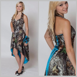 Wholesale Long Camouflage Dress - Blue Camo Bridesmaid Dresses Short Front Long Back Wedding Party Dress Camouflage Maid Honor Gown Halter Hi-Lo
