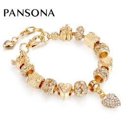 Wholesale Brass Gold Beads - 2017 Fashion Crystal Beads Bangles Gold Heart Pendant Four Leaf House Charm Bracelets For Women Lover's Luxury Jewelry AA141
