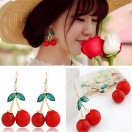 Wholesale Chandeliers Fruit - Frozen Cherry Dangle Earrings DHL Lovely Christmas Gift Women Red Fruit Ear Stud Fashion New Crystal Rhinestone Fashion Charm Earrings