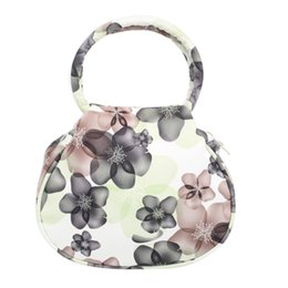 Wholesale Wedding Totes - Wholesale- Classic National Women Flower Print Leather Handbag Tote Fashion Trendy Women Wedding Party Purse Mini Makeup Bags