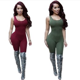 Wholesale Tight Sexy Club Women Jumpsuits - Wholesale- Bodycon Sexy Jumpsuit Club Jumpsuit Bodysuit Fashion Backless Tight Women Romper Sleeveless Rompers Womens Jumpsuit Plus Size