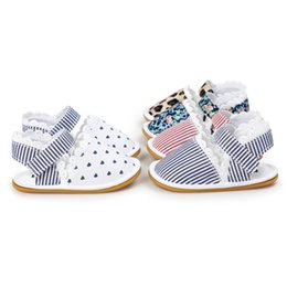 Wholesale Leopard Print Baby Shoes - baby shoes New Stripe Floral Leopard Lace Girls First Shoes Autumn Summer Infant Prewalker Fashion Cute soft-soled Newborn Flat Shoes C1453
