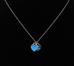 Wholesale Cheap Titanium Necklace Free Shipping - Cheap fashion jewelry 925 silver double heart pendant necklace Valentine's Day gift for girls free shipping