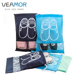 Wholesale Types Girl Shoes - Wholesale- VEAMOR Travel Shoes Bags for Girls Women Dustproof Cover Shoes Bags Non-Woven Travel Beam Port Shoes Storage Bags 8pcs WB000