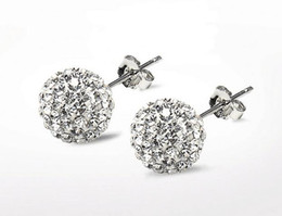 Wholesale Stainless Steel Balls 8mm - 2017 hot sales 925 Silver 6mm  8mm 10mm Shamballa Crystal disco Ball Stud Earrings Swarovski 20pairs lot 7