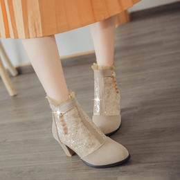 Wholesale Mid Heel Red Bridal Shoes - Free shipping Womens Synthetic Suede Lace Zip Med Block Heels Ankle Boots Bridal Shoes