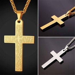 Wholesale Holy Cross Necklaces - U7 New Bible Verse Jesus Cross Pendant Necklace with Holy Bible Christian Jewelry Stainless Steel Gold Plated Chain for Women Men GP2437