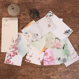 Wholesale Double Sided Material - Wholesale-5 Pieces  Lot Chinese Style Vintage Flower Craft Paper Envelope For Letter Paper Postcards School Material Free Shipping 822