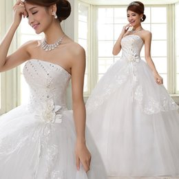 Wholesale Korean Sexy Dresses - 2017 Korean Fashion Lace Wedding Dress Crystal Simple Chinese Strapless Wedding Gown Princess Bridal Dress Made In China Free Shipping H27