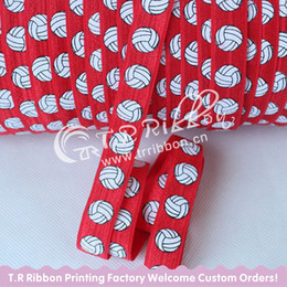 Wholesale Elastic Hair Rolls - New Arrival 5  8 ''15mm 50 Yards  Roll Volleyball Printed Foe Elastic Headwear Ribbons Children Fashion Headbands Wholesale #250 Red