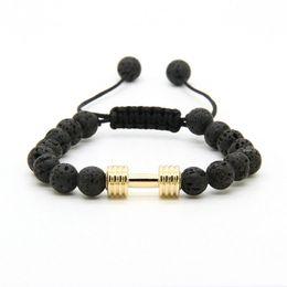 Wholesale Men Dumbbell - Sport Bracelets Wholesale 8mm Lava Rock Stone Beads With New Barbell Fitness Dumbbell Macrame Bracelets for Men