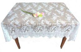 Wholesale Wedding Cloth Tablecloths - Square Lace Fabric Wedding Tablecloths Party Home Decor Vintage Kitchen Table Cloths Floral Textiles Decoration 130*150cm WHITE BLACK