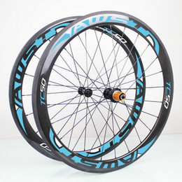 Wholesale Cheap 12 Bicycle - AWST blue 50mm glossy 3k 700C clincher full carbon bike wheels cheap bicycle carbon wheels set 23mm width basalt surface wheels