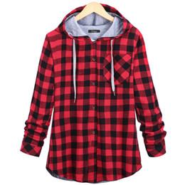 Wholesale Plaid Hoodie Women - Fashion Women Spring Autumn Red Blue Cotton Casual Button Hooded Sweatshirt Oversize Coat Ladies Long Sleeve Plaid Hoodies Plus 2XL