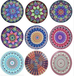 Wholesale Sarong Bikini Cover - Indian Mandala Tapestry Round Bikini Cover Ups Beach Towel Bohemian Hippie Beachwear Chiffon Beach Sarongs Shawl Bath Towel Yoga Mat 12 pcs