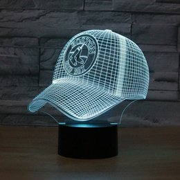 Wholesale Usb Baseball - 3D Boston Baseball Cap Night Light 7 RGB Lights Touch Button AA Battery USB Charging Gift Present Fast Free Shipping Dropshipping