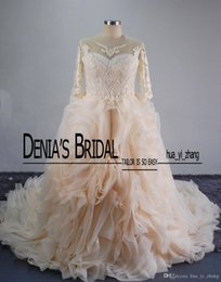 Wholesale Dropped Cathedral Wedding Dress - 2017 Plus Size Wedding Dresses Colorful Bateau Lace Appliques Beaded Embroidery Ruffle Puffy Cathedral Train A-line Bridal Gowns