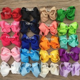 """Wholesale Wholesale Double Prong Clips - XIMA20pcs 4"""" Grosgrain Ribbon Bows Lined Double Prong Alligator Clips Baby Girls Hair Bow for Hair Accessories Free shipping"""