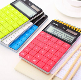 Wholesale Solar Transparent Calculators - LCD Display Digits LCD 12 Digit Ultra slim Transparent Solar Calculator for Student School Office tudents Children Gift