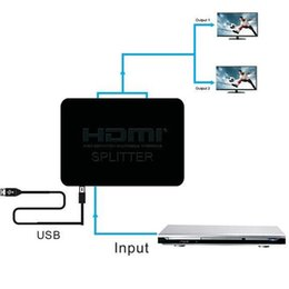 Wholesale Usb Powered Dvd - HDMI Switch Dual Display 1080P 3D HDMI Splitter Switcher with usb power 1x2 1 in 2 out HDMI Distributor For DVD HDTV PS3 PS4 XBOX 50pcs