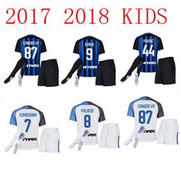 Wholesale Kids Green Socks - kids 2017 2018 Inter home kits Soccer jersey 17 18 CANDREVA ICARDI JOVETIC Milan full Set + Socks Maillot de foot Away football shirts