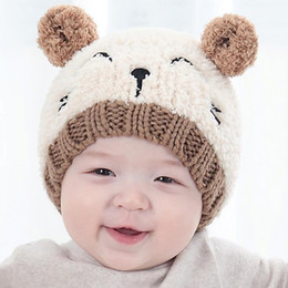 Wholesale kids winter animal hats - New Autumn Winter Baby Cartoon Animal Ears Hat Kids Knitted Cap Girls Boys Warm Beanies Children Hats M67