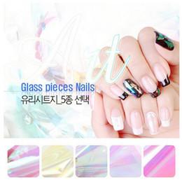Wholesale Nail Foil Cute - 5 Different Colors set 2016 NEW Broken Glass Pieces Mirror Foil Tips Stencil Decal Nail Art decorations Sticker Cute DIY Tools