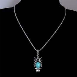 Wholesale Rhinestone Crystal stone Owl Pendant Necklace Turquoise Necklace costume Jewel Sweater chain TL196