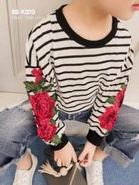 Wholesale Korean Style Striped Shirt - 2017 Korean Spring Style New Girls Fashion Embroidery Pullover Children's Girl Long Sleeve Striped Flowers Shirt Kids Clothing Clothes A139