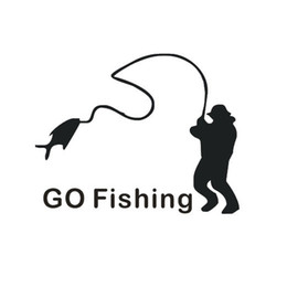Wholesale Automobile Supply - 1pc The Personality Automobile Accessories 12.5cm*10cm Go Fishing Decals Car Stickers Car Decals Auto Supplies