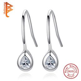 Wholesale Torn Earring - BELAWANG Elegant Women Jewelry 100% 925 Sterling Silver Princess Dangle Earrings Water Shape Clear Cubic Zircon Stylish Tear Drop Earrings