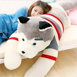 Wholesale life sized dogs - Dorimytrader Real Pictures! 71''   180 Huge Plush Soft Stuffed Large Life Size Emulational Animal Husky Dog Toy Kids Present DY60610