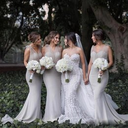Wholesale Trumpet Sale For Cheap - Country Long Mermaid Bridesmaid Dresses with V Neck Sheath Bridesmaid Gowns Cheap Custom Made Wedding Guest Dresses 2018 For Sale