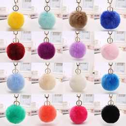 Wholesale Rabbit Key - 100pcs lot DHL Free Shipping 8CM Wholesale 21Colors Genuine Rabbit Fur ball Plush Key Chains Car Keychain Bag Pendant Fashion Accessories