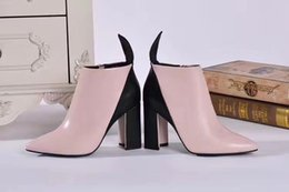 Wholesale Pink Ribbon Animation - high quality~u751 40 41 genuine leather pink heels sexy short boots pointed toe luxury
